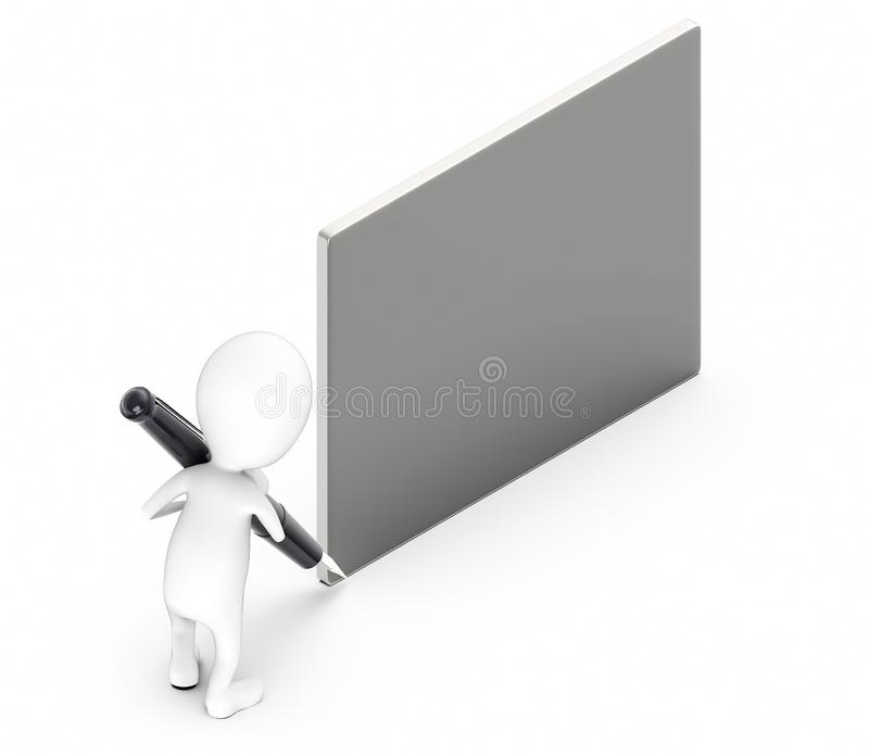 3d white guy , hold pen and write -empty silver board. 3d rendering stock illustration