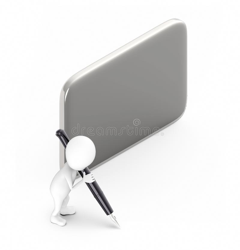 3d white guy , hold pen and write -empty silver board. 3d rendering royalty free illustration