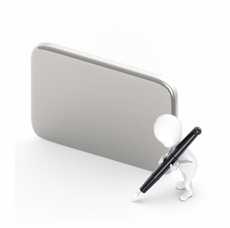 3d white guy , hold pen and write -empty silver board. 3d rendering vector illustration
