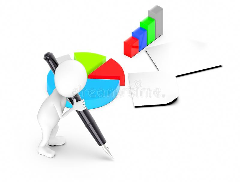 3d white guy , hold pen and write -pie chart bar graph papers. 3d rendering royalty free illustration