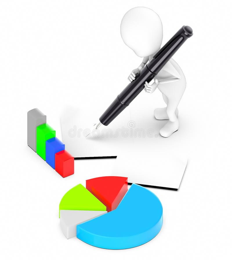 3d white guy , hold pen and write -pie chart bar graph papers. 3d rendering stock illustration