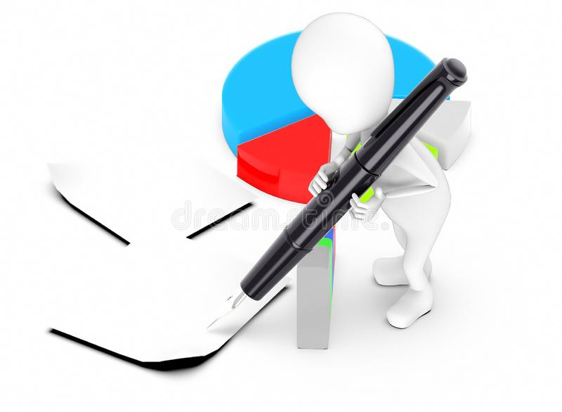 3d white guy , hold pen and write -pie chart bar graph papers. 3d rendering vector illustration