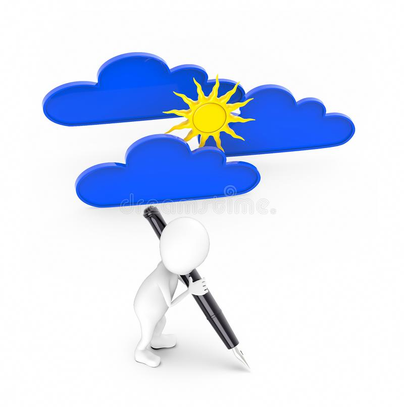 3d white guy , hold pen and write -sun and clouds. 3d rendering stock illustration