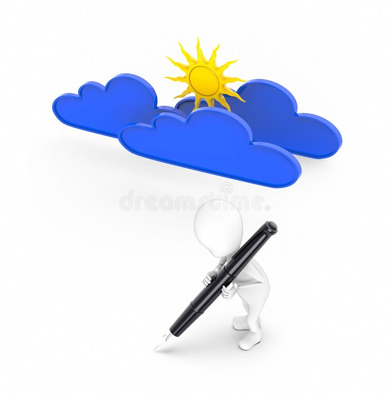 3d white guy , hold pen and write -sun and clouds. 3d rendering vector illustration