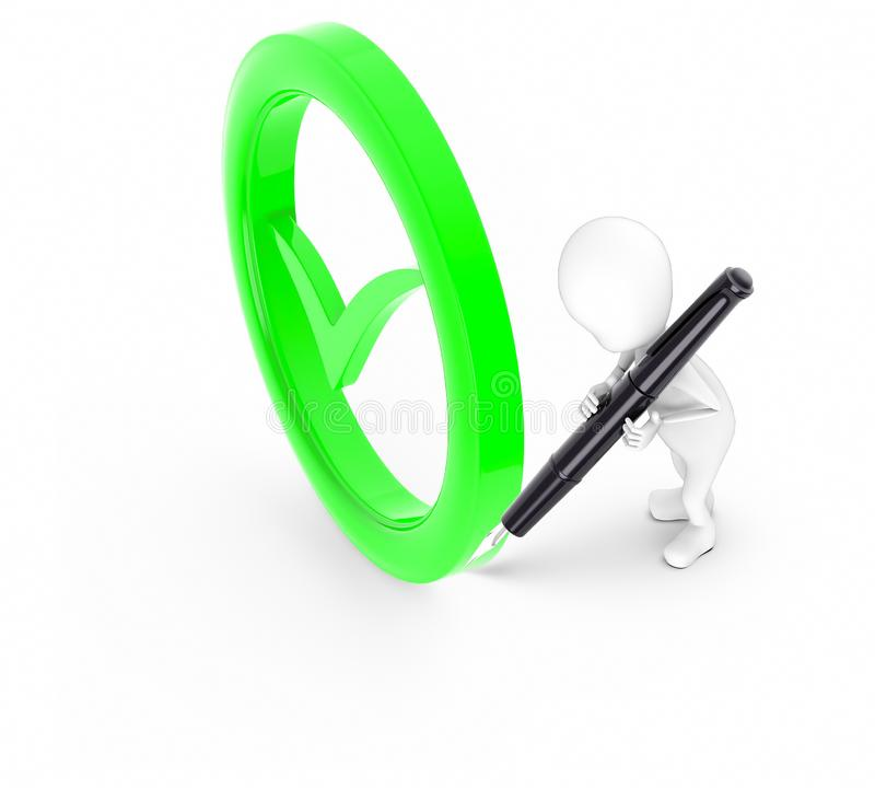 3d white guy , hold pen and write -tick mark bounded by circle. 3d rendering stock illustration