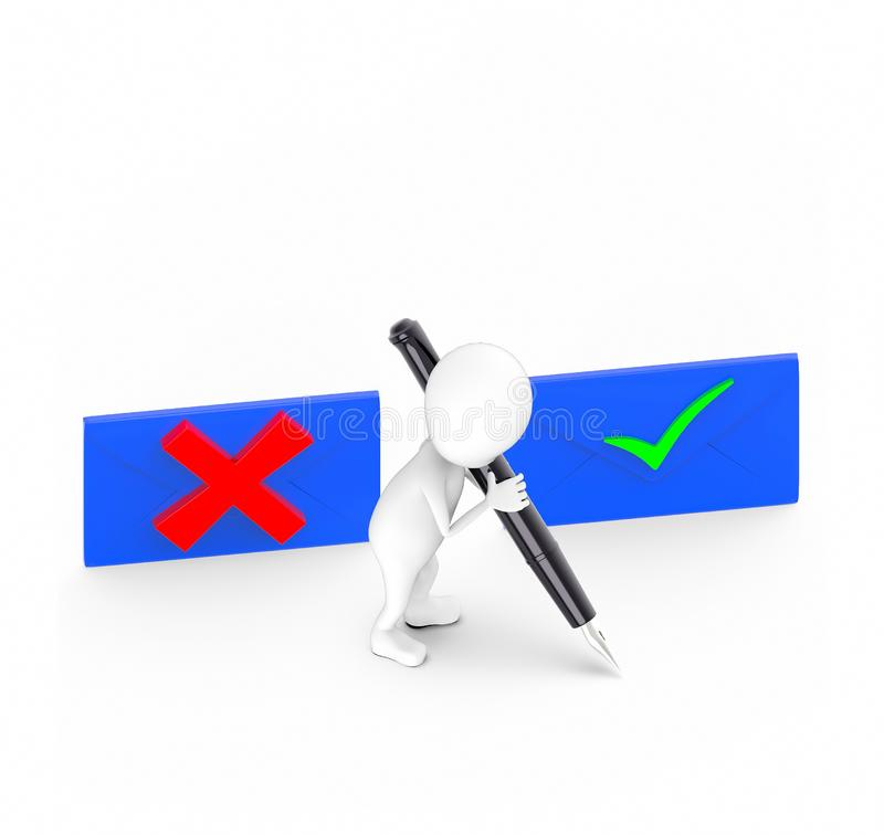 3d white guy , hold pen and write -tick wrong board blue vector illustration
