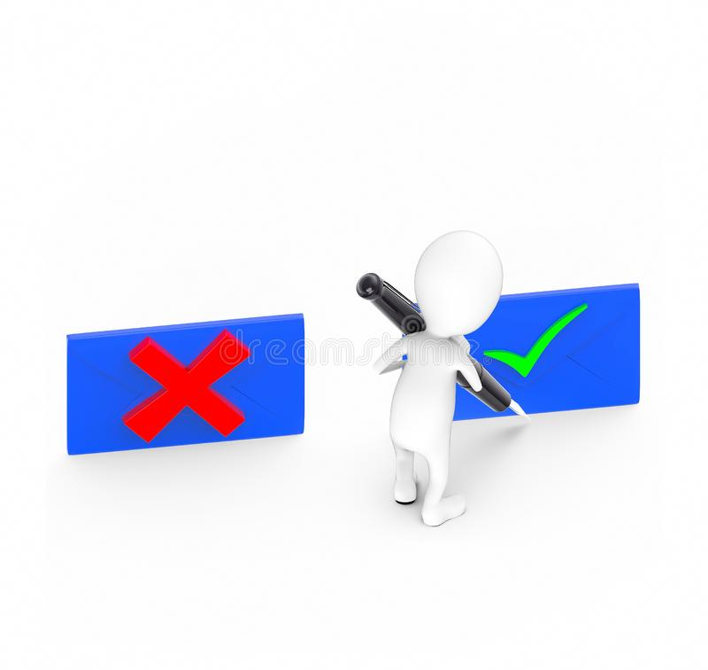 3d white guy , hold pen and write -tick wrong board blue. 3d rendering stock illustration