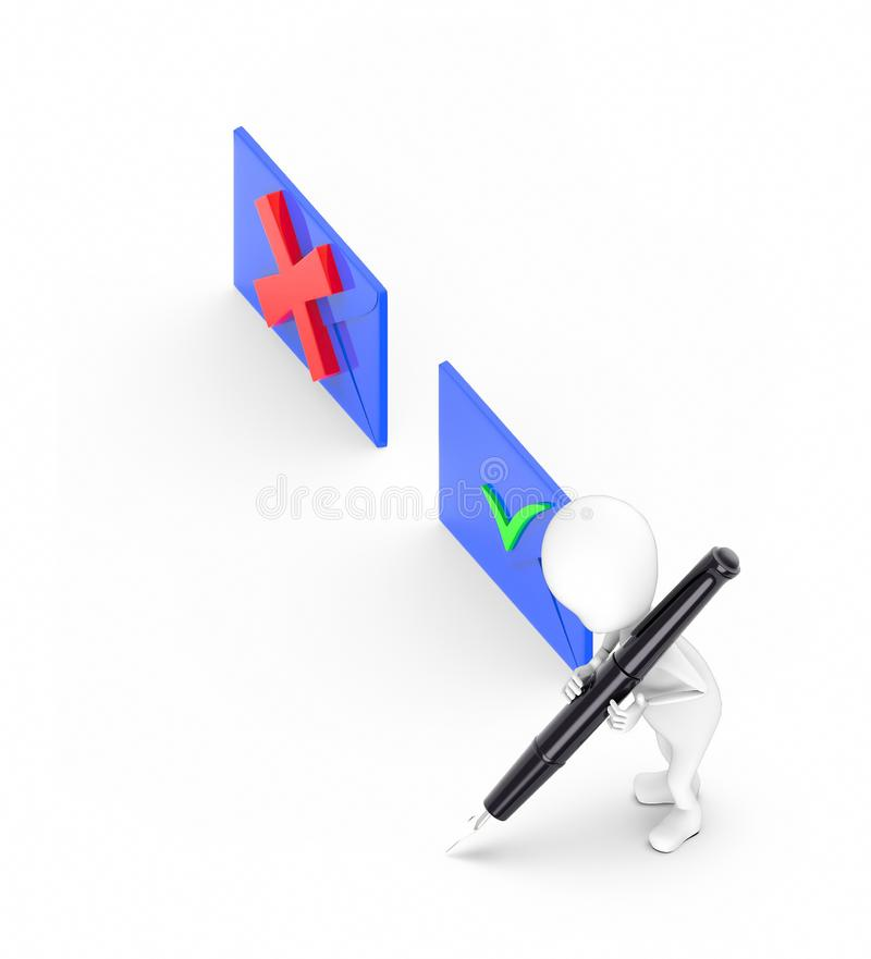 3d white guy , hold pen and write -tick wrong board blue. 3d rendering royalty free illustration