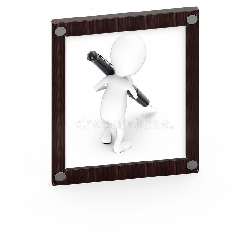 3d white guy , hold pen and write -Wooden empty frame. 3d rendering royalty free illustration