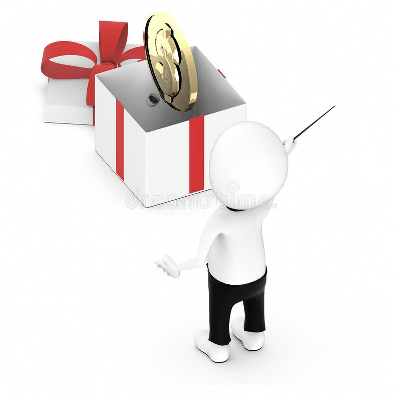 3d white guy , hold a stick and pointing -gold coin inside a gift box. 3d rendering vector illustration