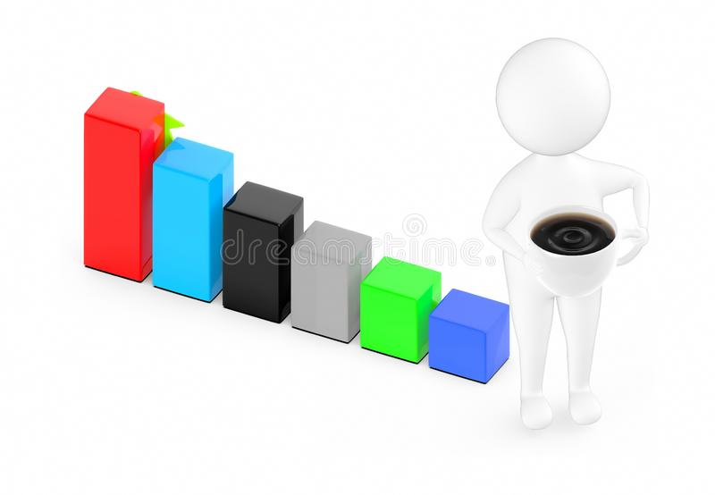 3d white guy , holding cup of coffee -bar graph royalty free illustration