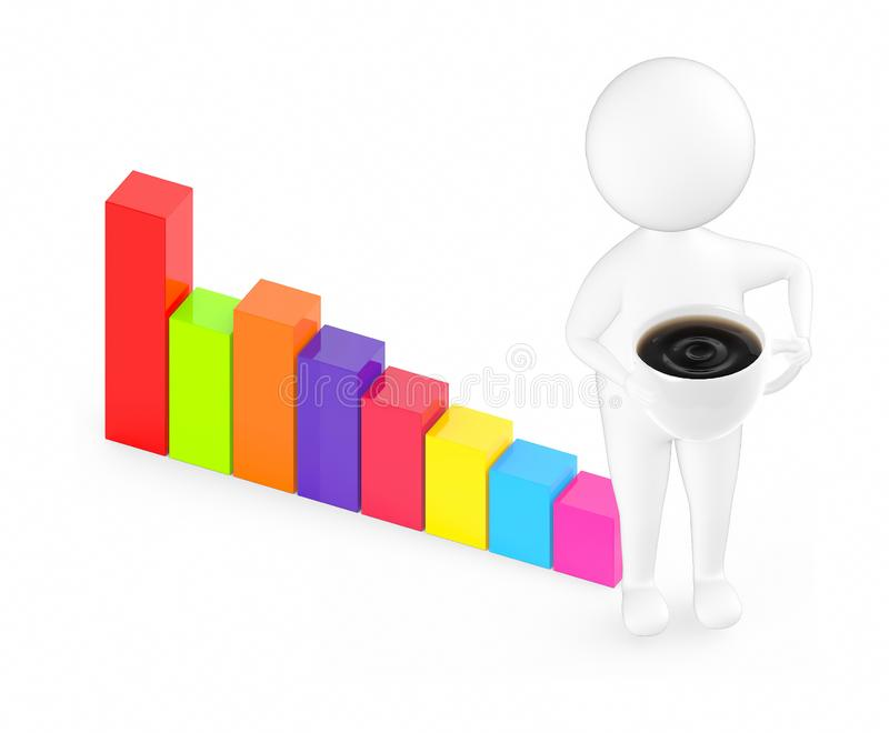 3d white guy , holding cup of coffee -bar graph stock illustration