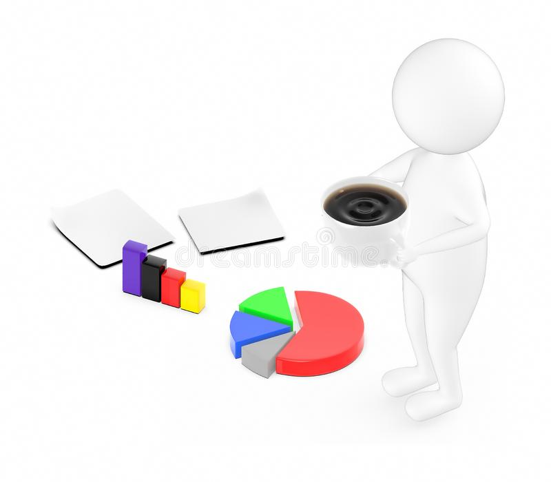 3d white guy , holding cup of coffee -pie chart bar graph papers vector illustration