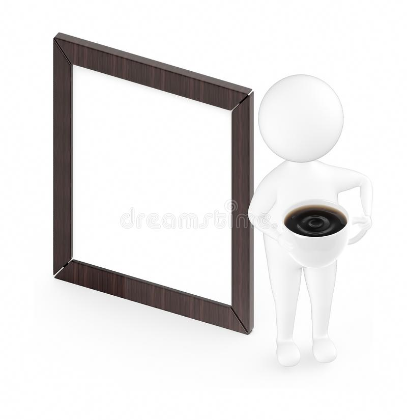 3d white guy , holding cup of coffee -Wooden empty frame vector illustration