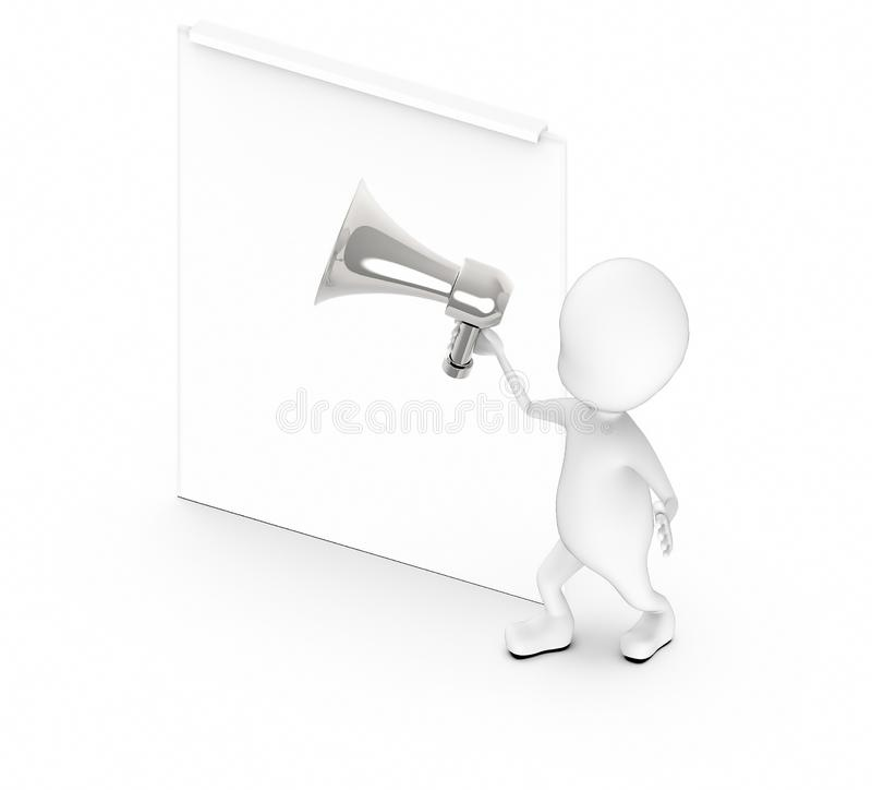 3d white guy , holding a megaphone , announce -blank empty board royalty free illustration
