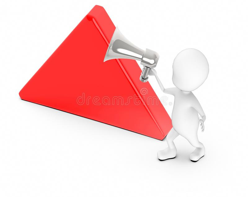 3d white guy , holding a megaphone , announce -empty triangular board stock illustration