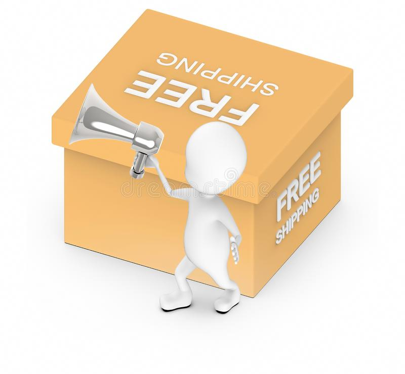 3d white guy , holding a megaphone , announce -free shipping cardboard box stock illustration