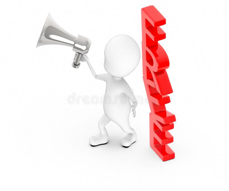 3d white guy , holding a megaphone , announce -free text stock illustration