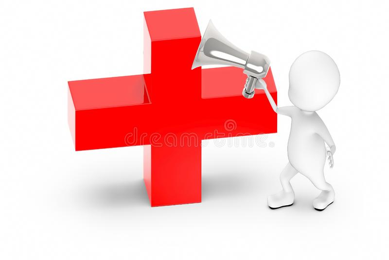3d white guy , holding a megaphone , announce -red cross , first aid sign royalty free illustration