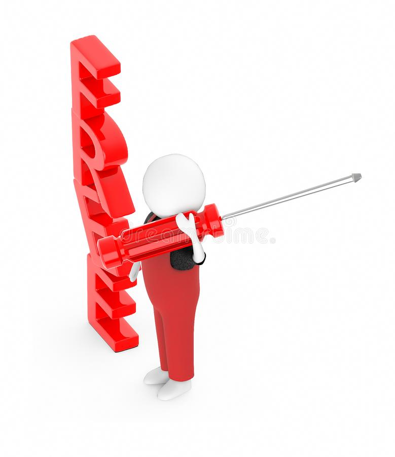 3d white guy , holding a screw driver -free text royalty free illustration