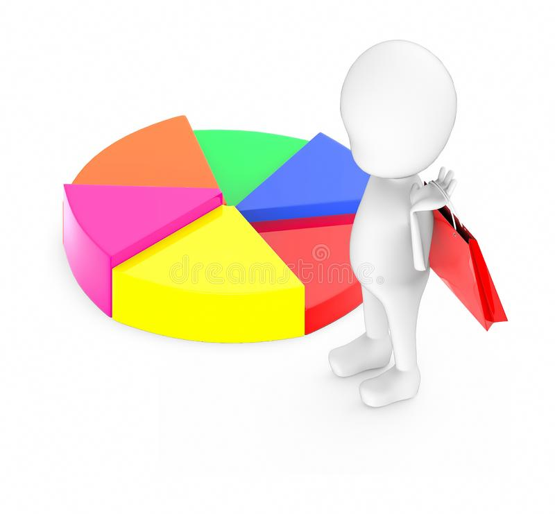 3d white guy , holding a shopping bag -pie chart royalty free illustration