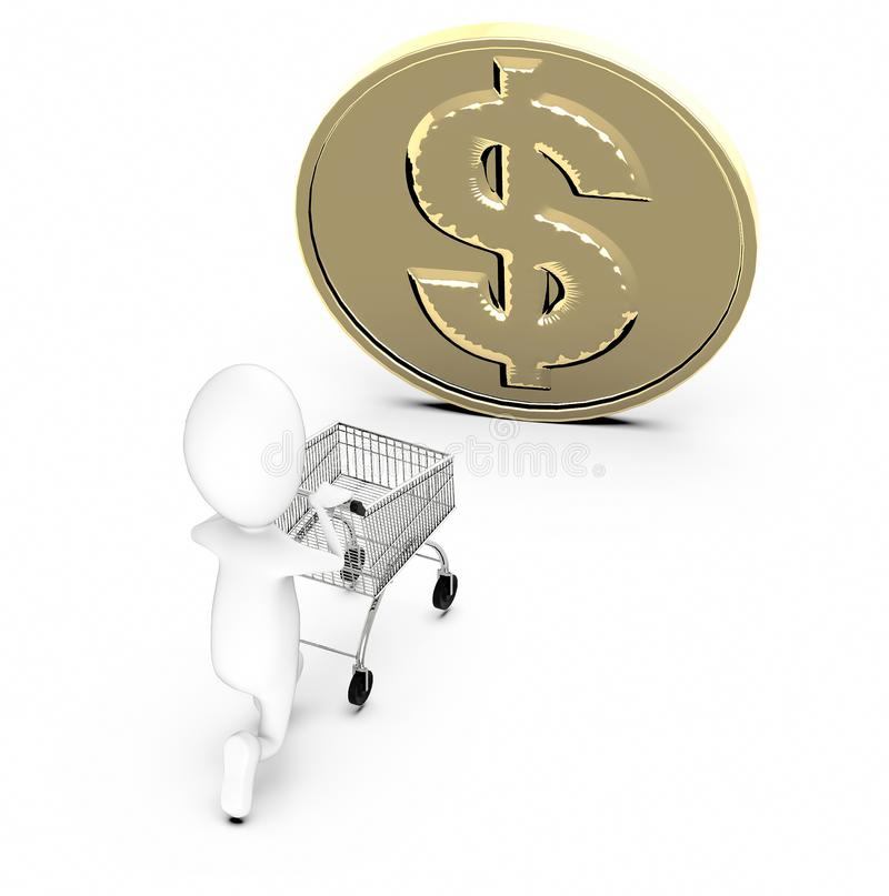 3d white guy , moving a shopping cart -dollar sign gold coin vector illustration