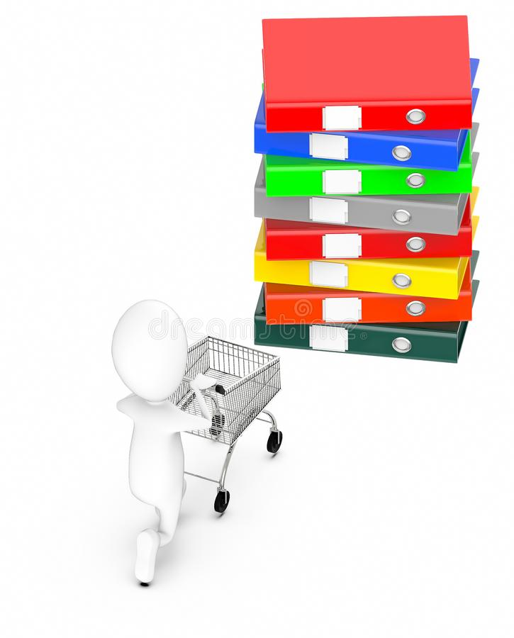 3d white guy , moving a shopping cart -stack of files. 3d rendering royalty free illustration
