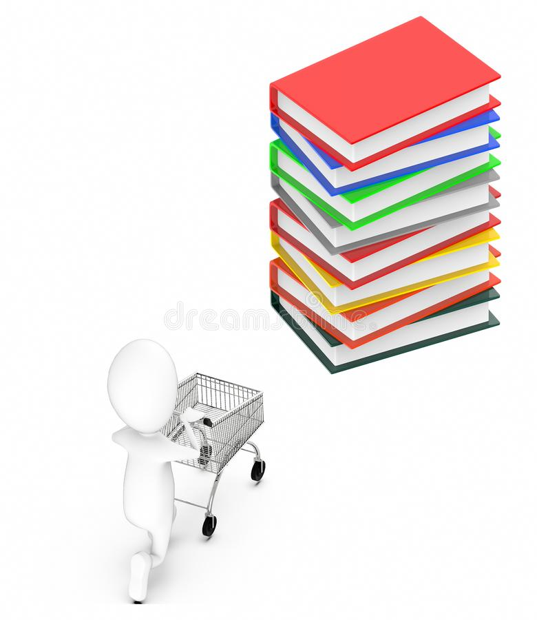 3d white guy , moving a shopping cart -stack of files. 3d rendering vector illustration