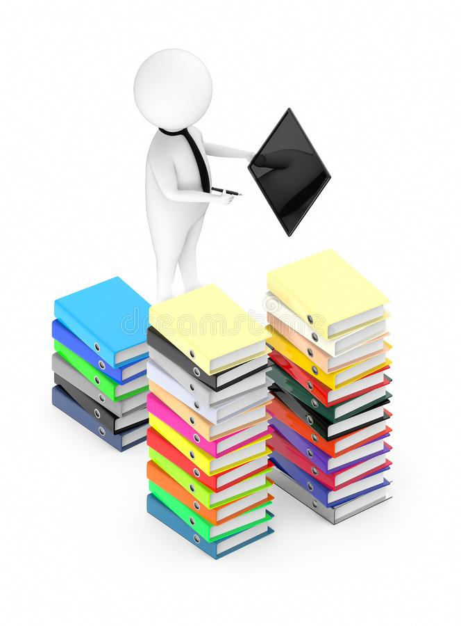 3d white guy , neck tie holding a tablet and a pen -stack of file folders vector illustration