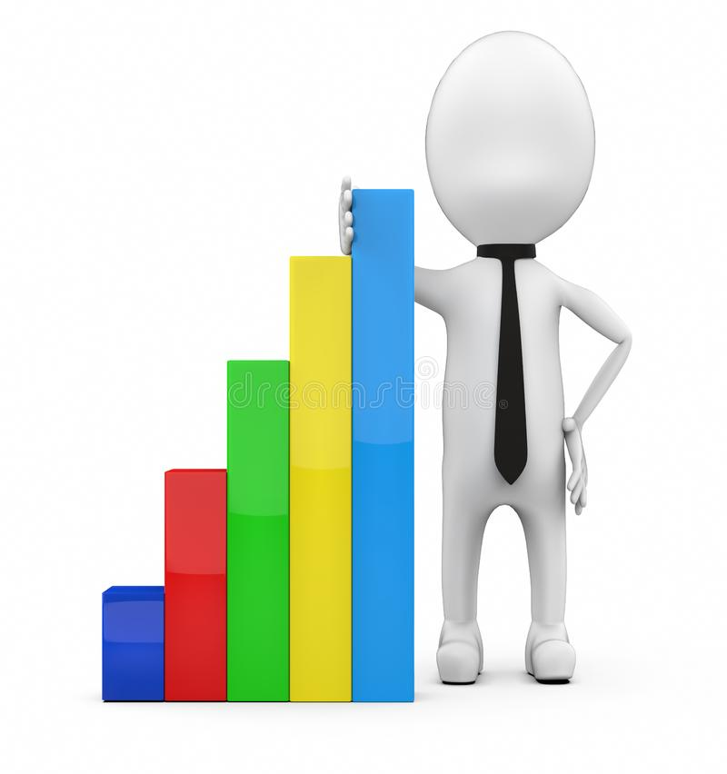 3d white guy presenting growth chart graph stock illustration