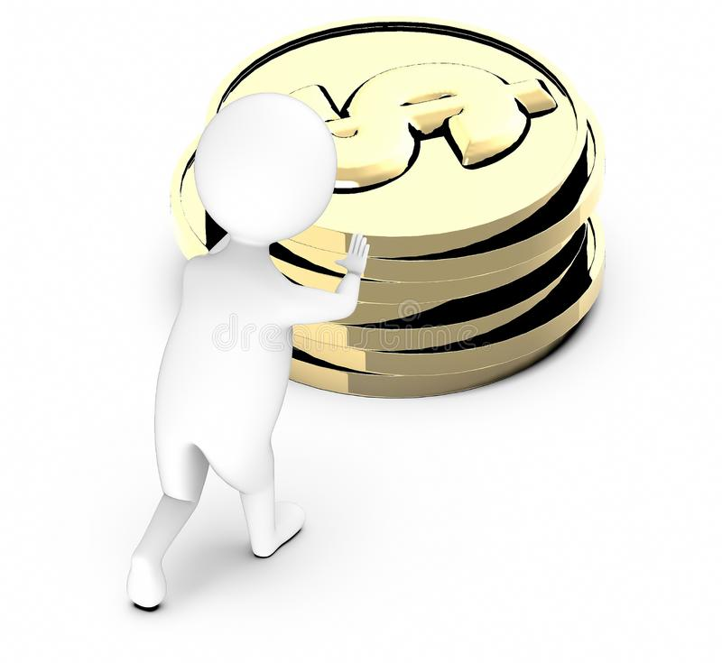 3d white guy , push -pile of gold coins royalty free illustration