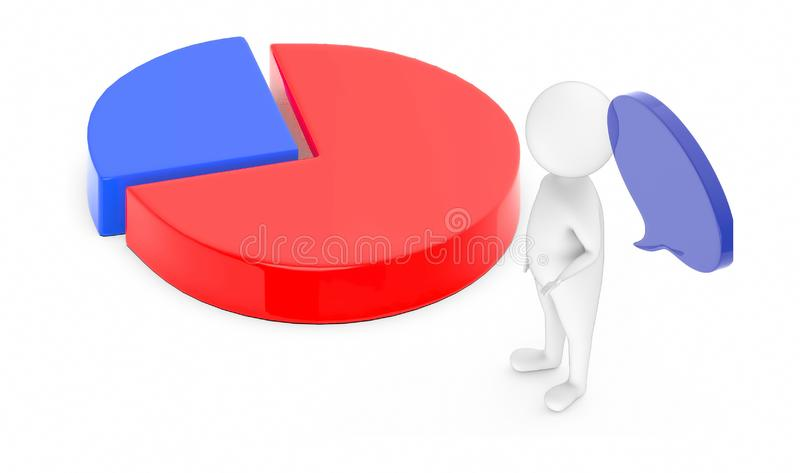 3d white guy , with speech bubble -pie chart. 3d rendering vector illustration
