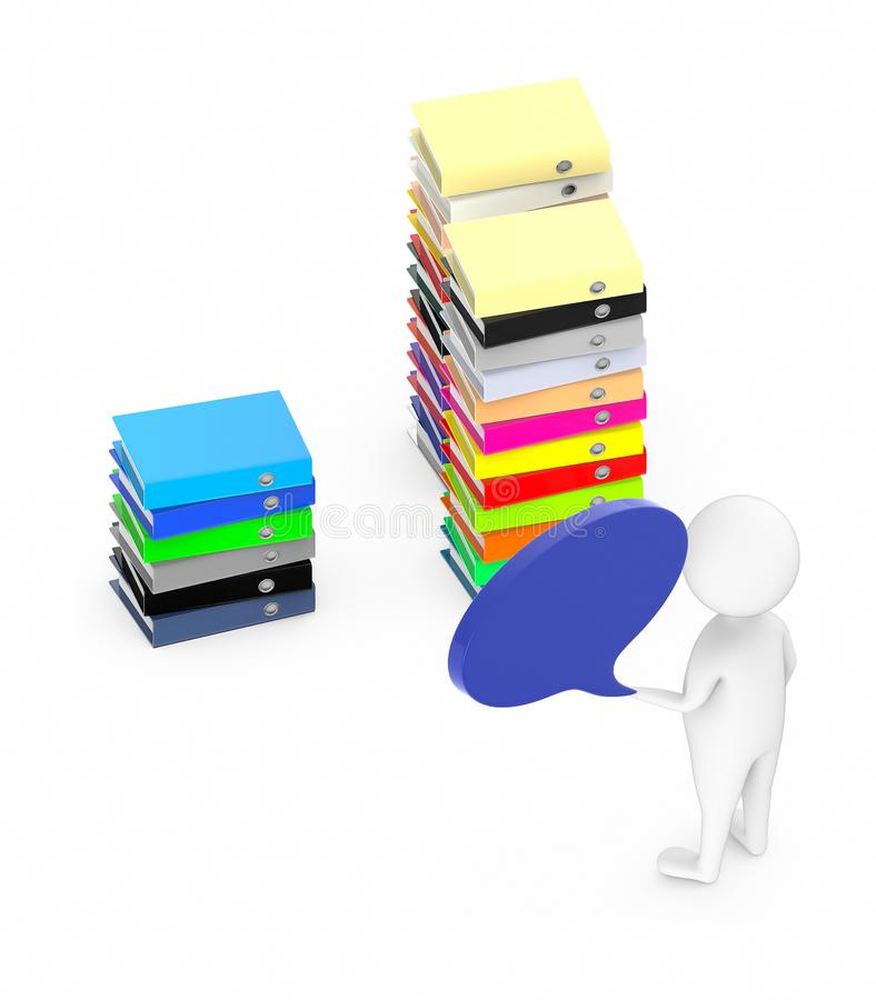 3d white guy , with speech bubble -stack of file folders. 3d rendering royalty free illustration