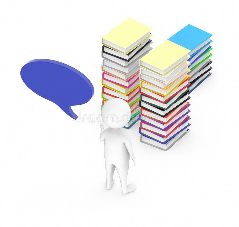 3d white guy , with speech bubble -stack of file folders. 3d rendering stock illustration