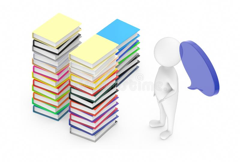 3d white guy , with speech bubble -stack of file folders. 3d rendering vector illustration