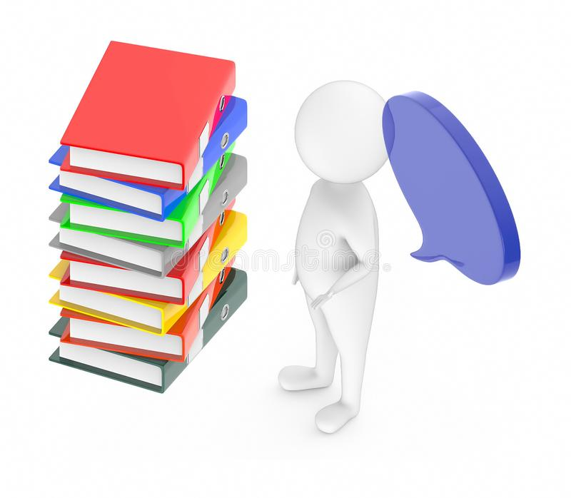 3d white guy , with speech bubble -stack of files. 3d rendering stock illustration