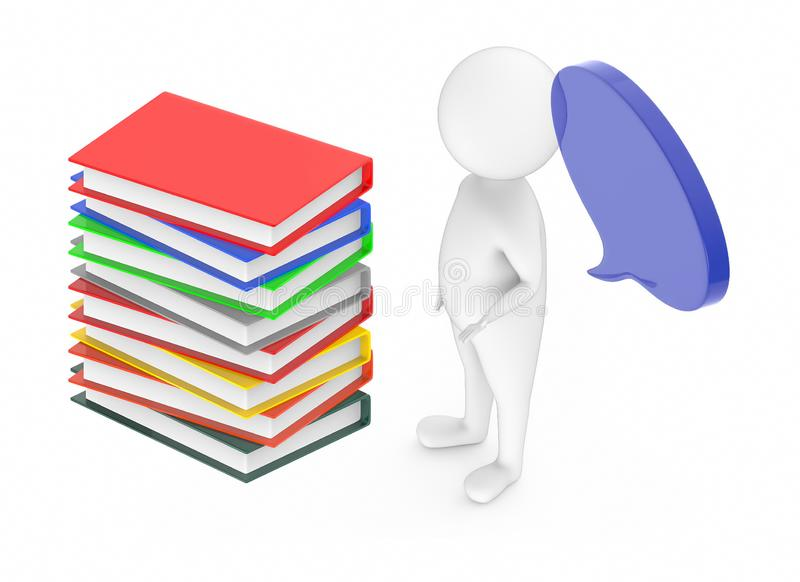 3d white guy , with speech bubble -stack of files. 3d rendering royalty free illustration