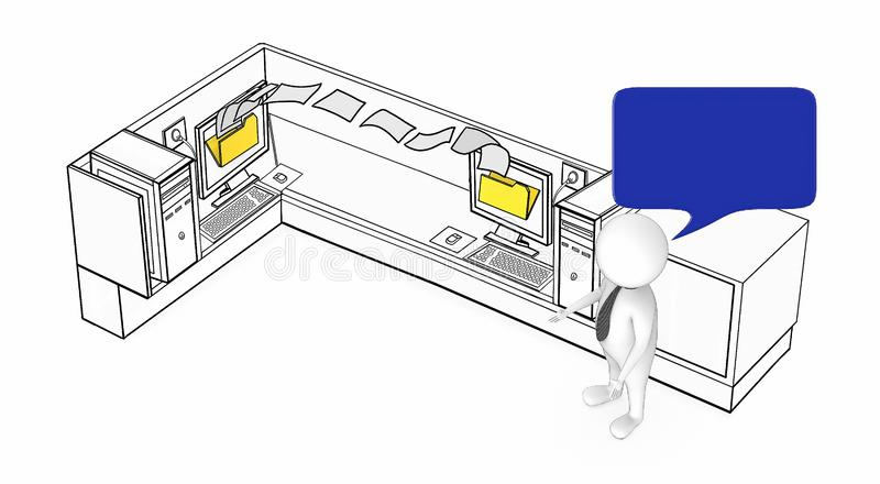 3d white guy with speech bubble standing next to two computers inside a office cubicle where file transfer is going on- intranet. Bluetooth , wifi ,lan file royalty free illustration