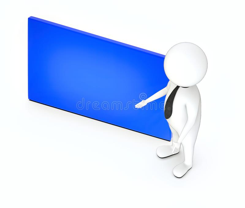 3d white guy , standing , hands widened , presenting -empty plain copy space board. 3d rendering royalty free illustration