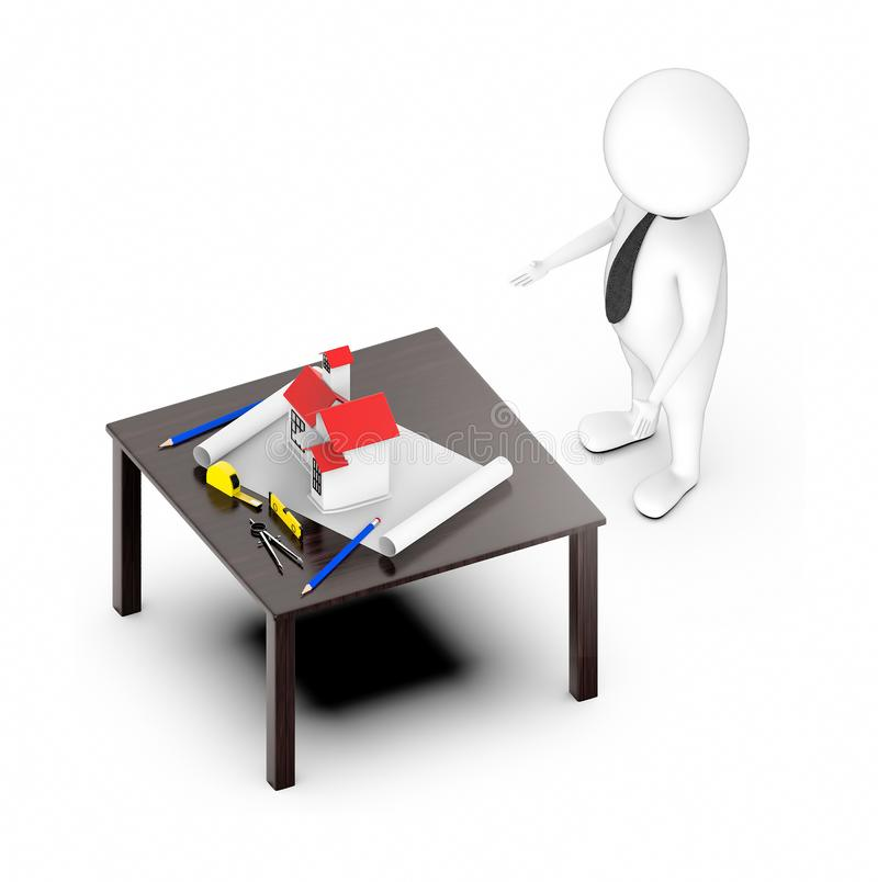 3d white guy , standing , hands widened -table with house draft divider measurement tape stock illustration