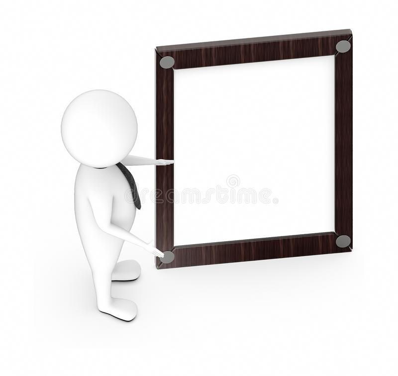 3d white guy , standing , hands widened -Wooden empty frame. 3d rendering, active, activity, art, background, border, brown, character, confident, corporate royalty free illustration