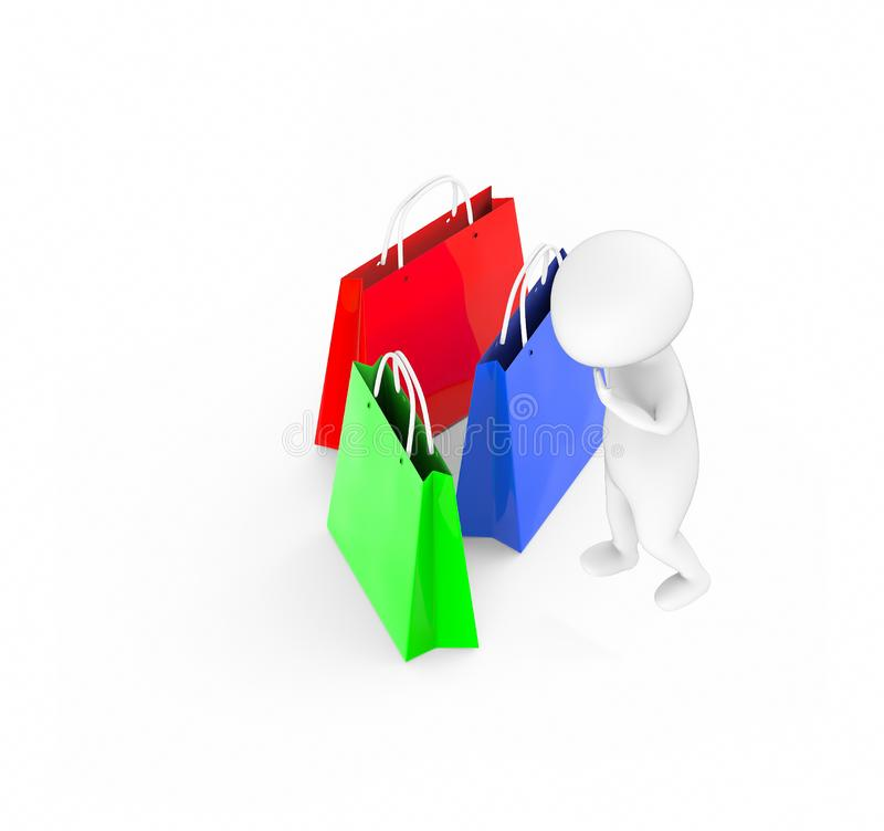 3d white guy , standing and holding shovel -Shopping bags royalty free illustration