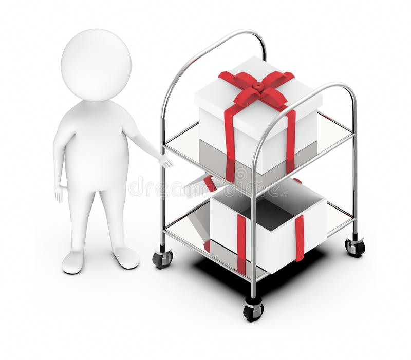 3d white guy , standing next to -Trolley with gift box two royalty free illustration