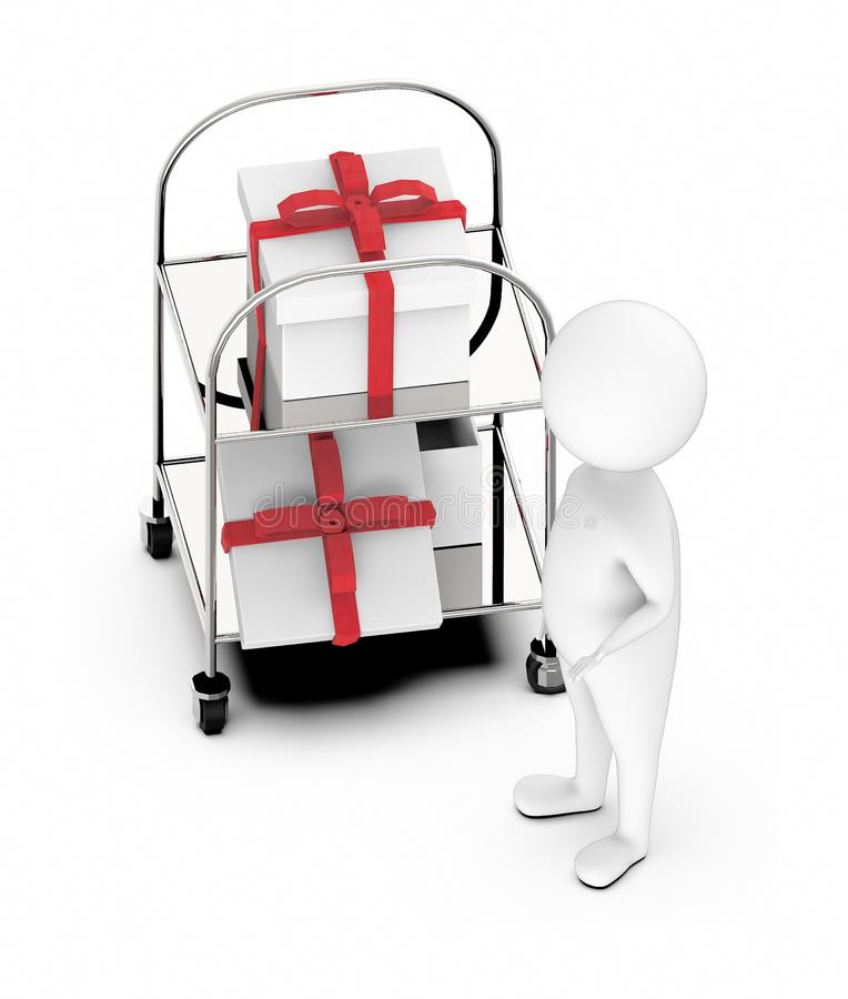3d white guy , standing next to -Trolley with gift box two stock illustration