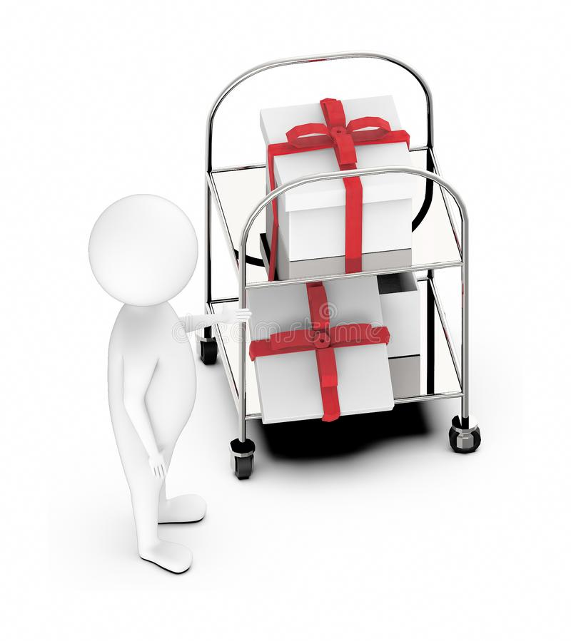 3d white guy , standing next to -Trolley with gift box two vector illustration