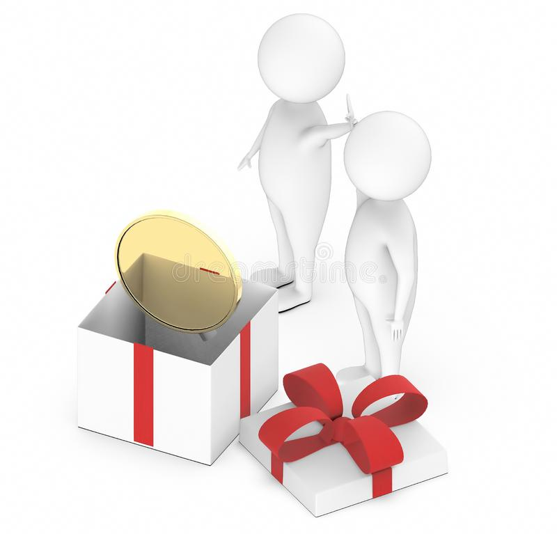 3d white guy , two of them raising hands togheter , success , team togheter -gold coin inside a gift box. 3d rendering royalty free illustration