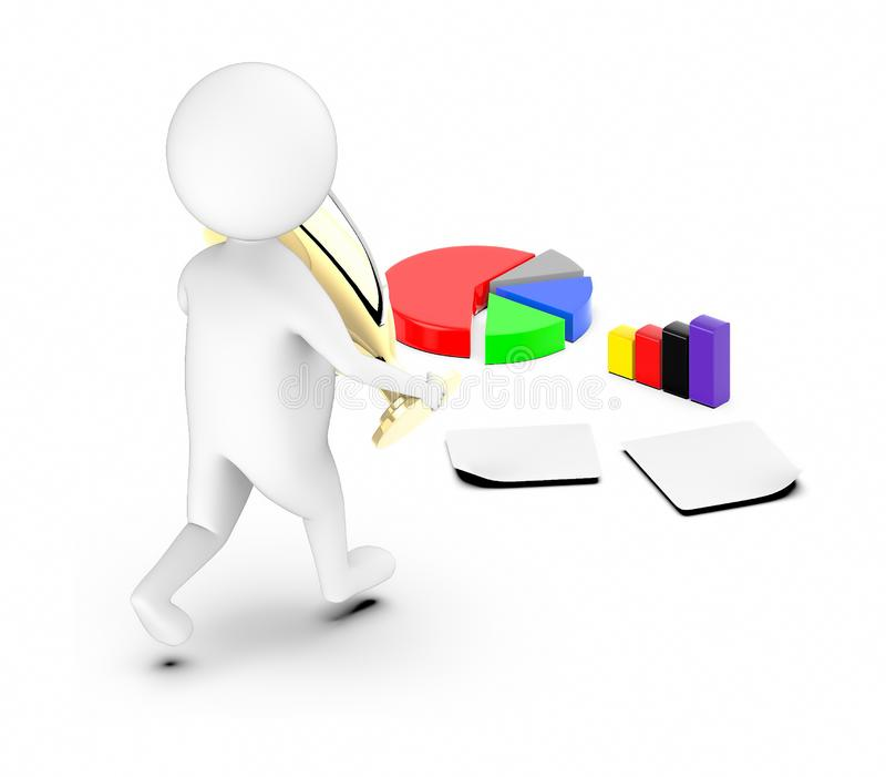 3d white guy , walk with holding golden trophy -pie chart bar graph papers. 3d rendering stock illustration
