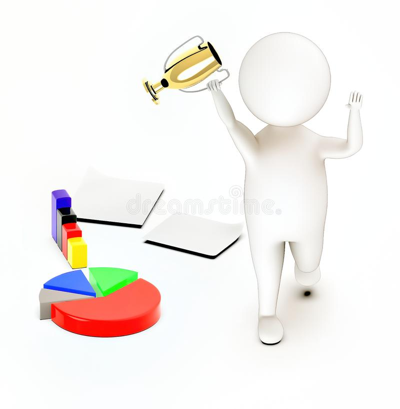 3d white guy , walk with holding golden trophy -pie chart bar graph papers. 3d rendering vector illustration