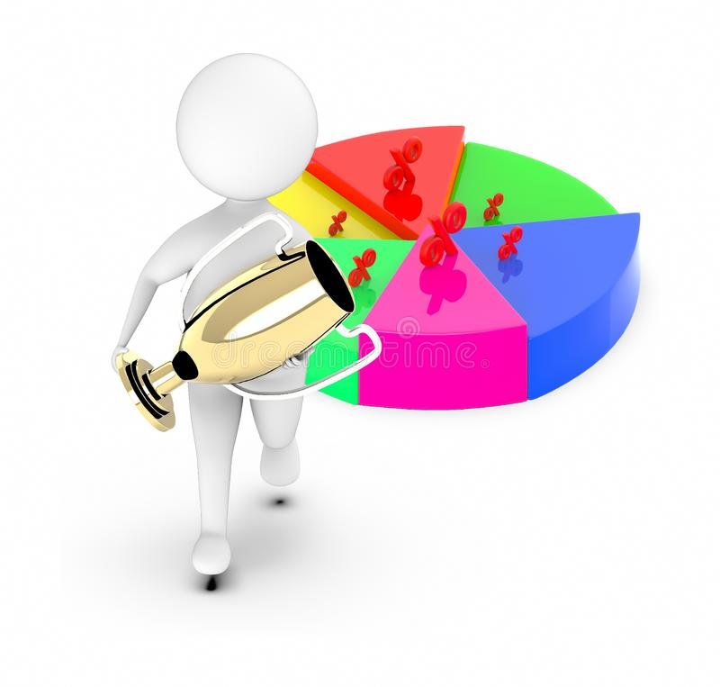 3d white guy , walk with holding golden trophy -pie chart percentage sign. 3d rendering vector illustration
