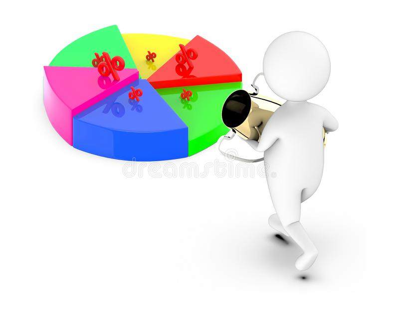 3d white guy , walk with holding golden trophy -pie chart percentage sign. 3d rendering stock illustration